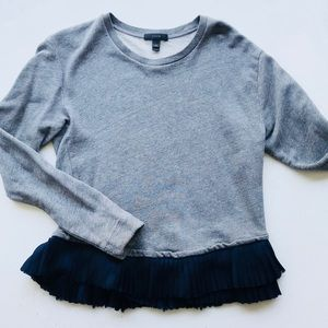 J. Crew Grey Sweater w/ Ruffle Trim